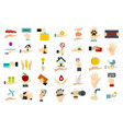 object in hand icon set flat style vector image