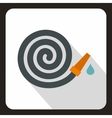 Rolled up garden hose icon flat style vector image