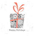 greeting card with ornamental gift vector image