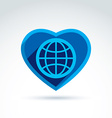 Blue simple planet icon placed in a heart globe vector image
