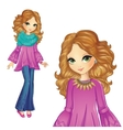 Girl In Purple Tunic And Jeens vector image