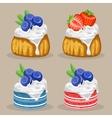 set of dessert with berries vector image vector image