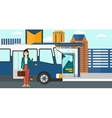 Woman standing near bus vector image