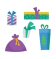 Colorful Gift Boxes on White Christmas Presents vector image