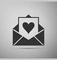 envelope with valentine heart icon valentines day vector image