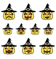 Funny cartoon pumpkins set with witch hat vector image