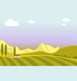 village landscape with wide fields small houses vector image
