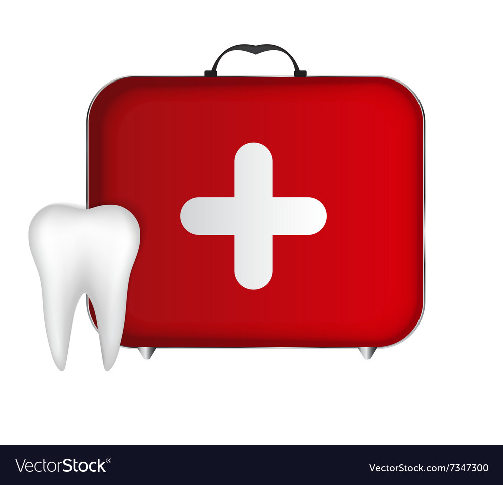 Tooth and red medical bag with a cross vector