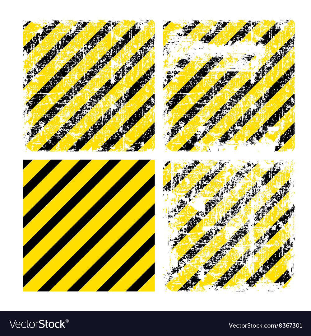 Four square yellow backgrounds with black stripes vector