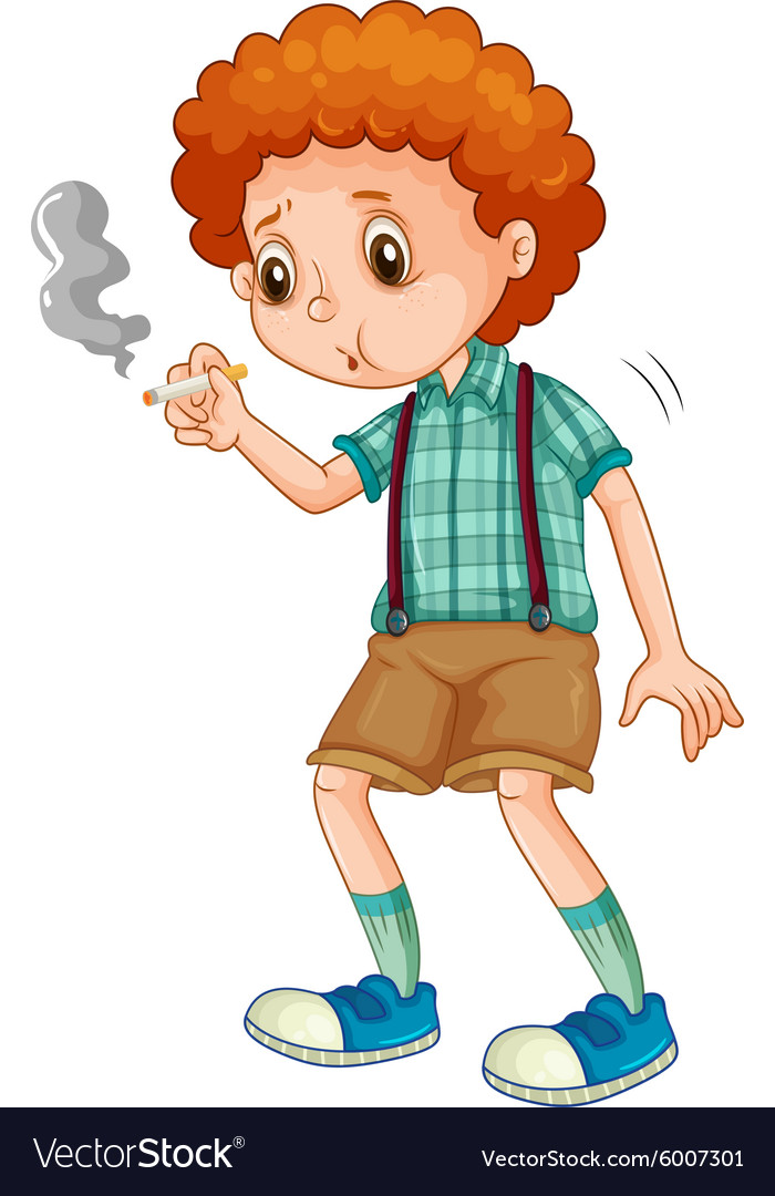 Little boy trying to smoke cigarette vector