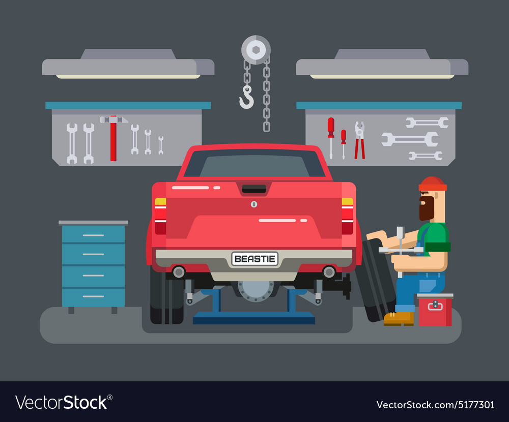 Mechanic repairs car in the garage vector