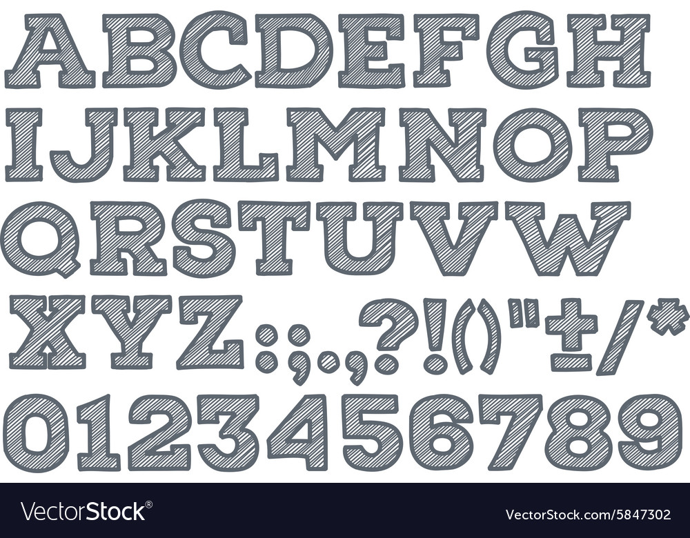 Chalk sketched striped alphabet abc font vector