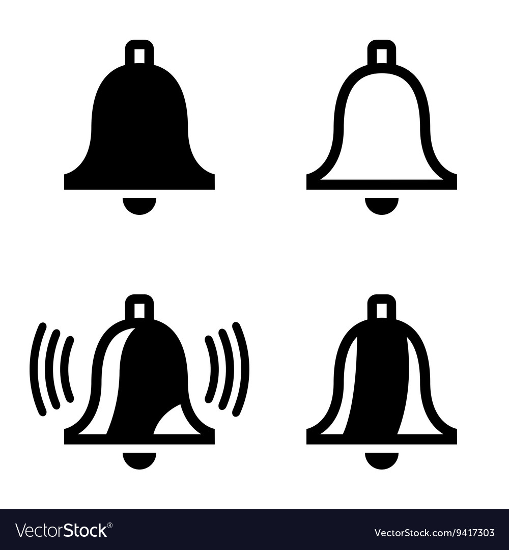 Black bell icons set vector