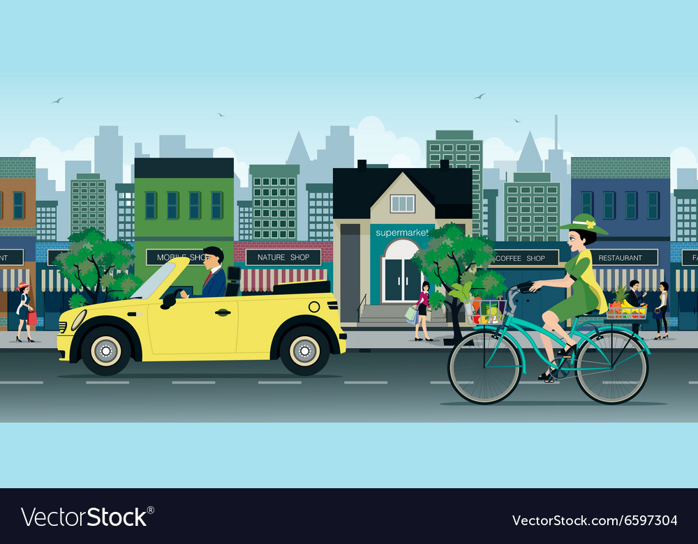 Bicycles on the road vector