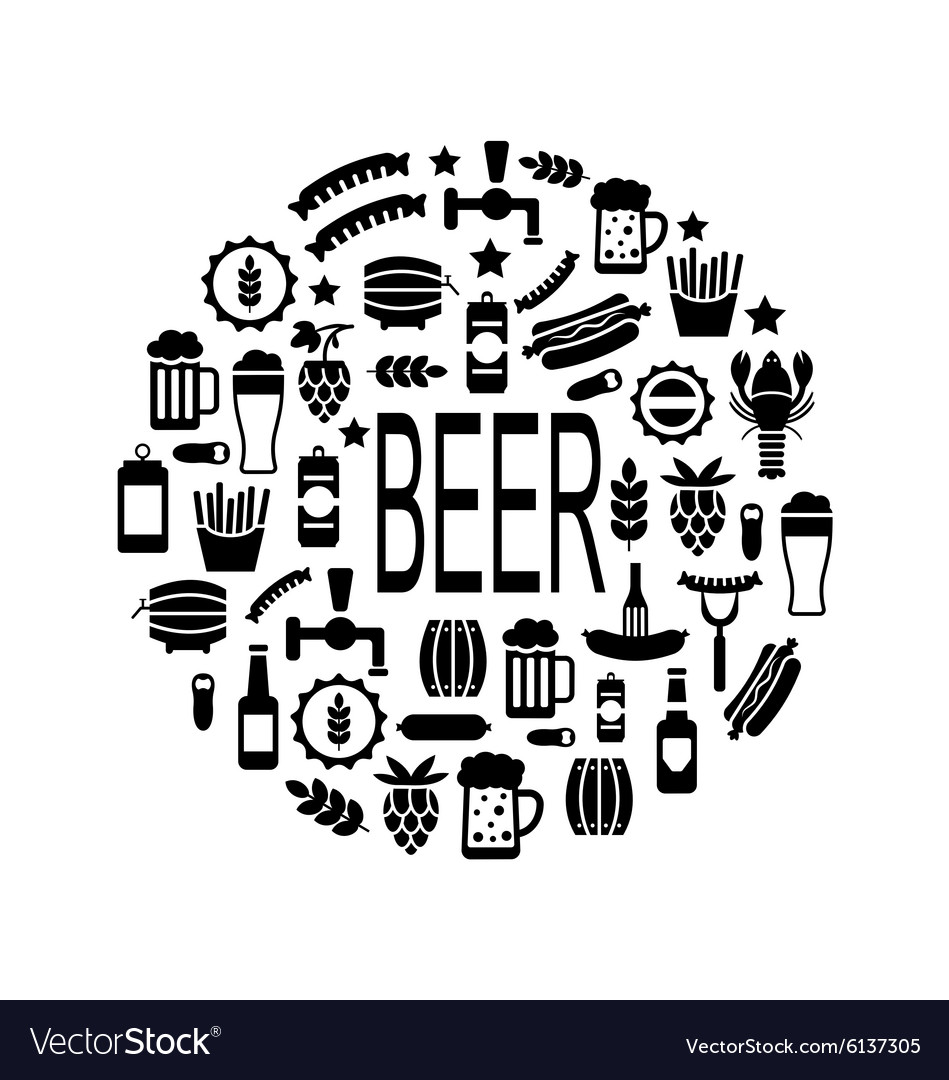 Black icons of beer and snacks vector
