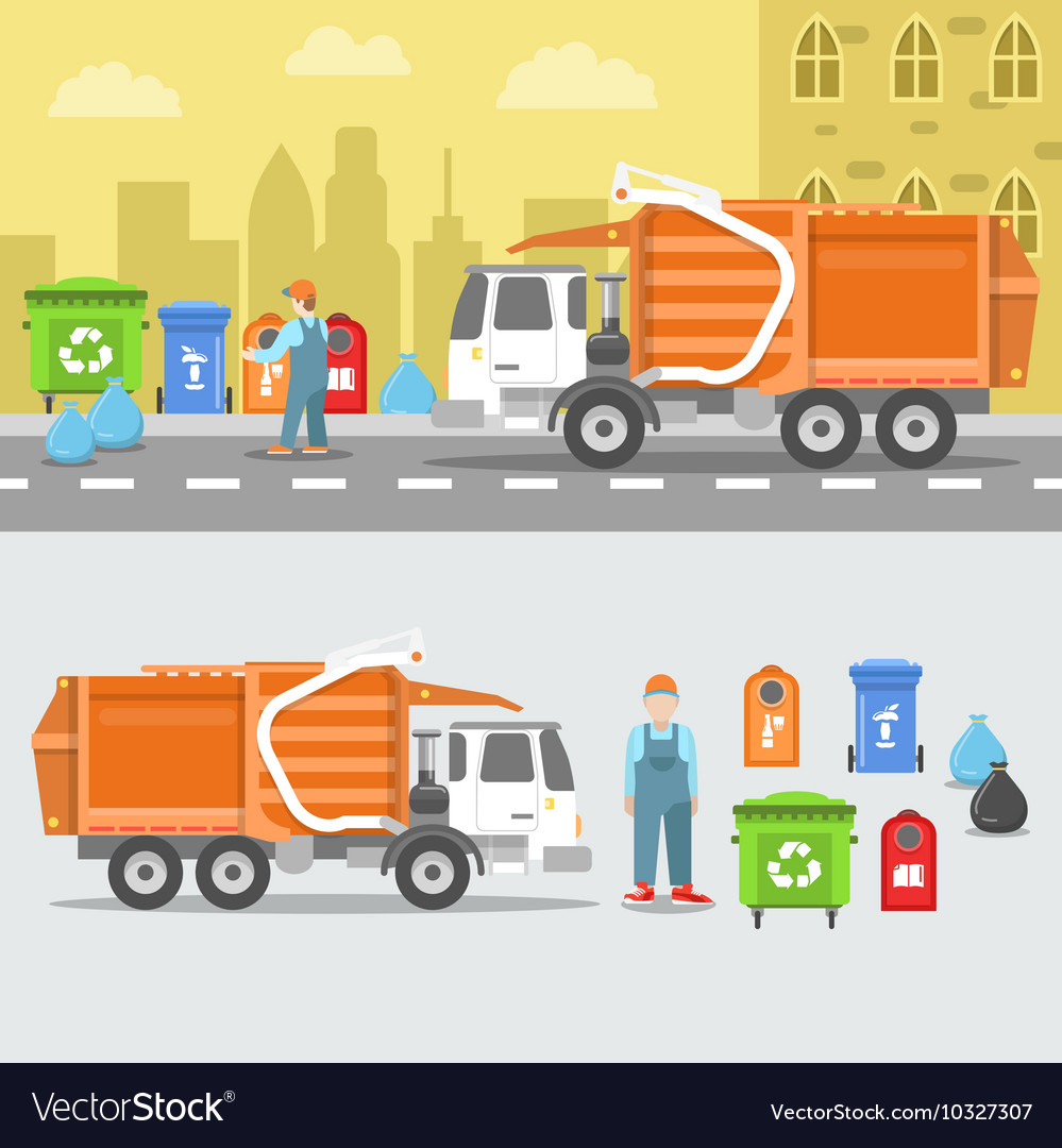 Garbage recycling set with truck and containers vector