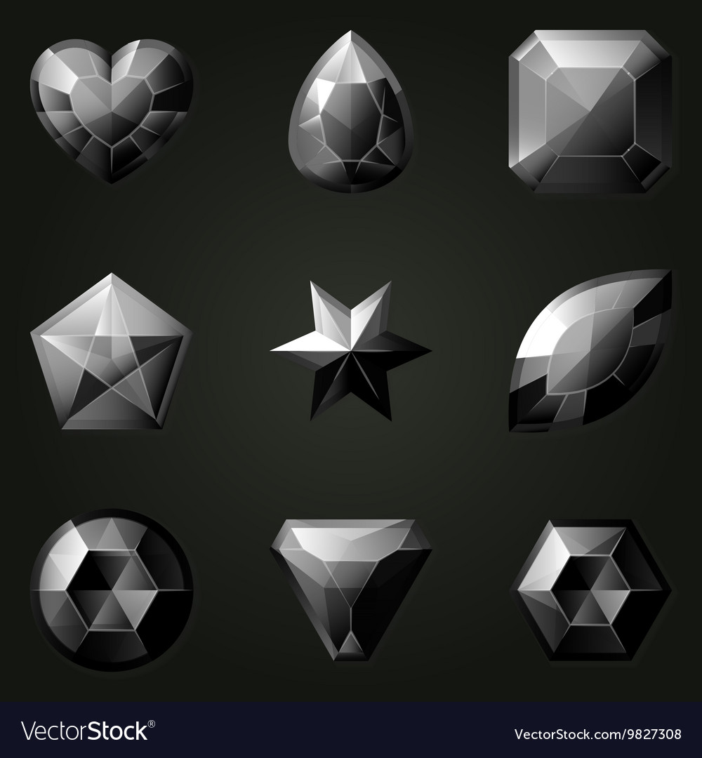 Set of gemstones with different shapes vector