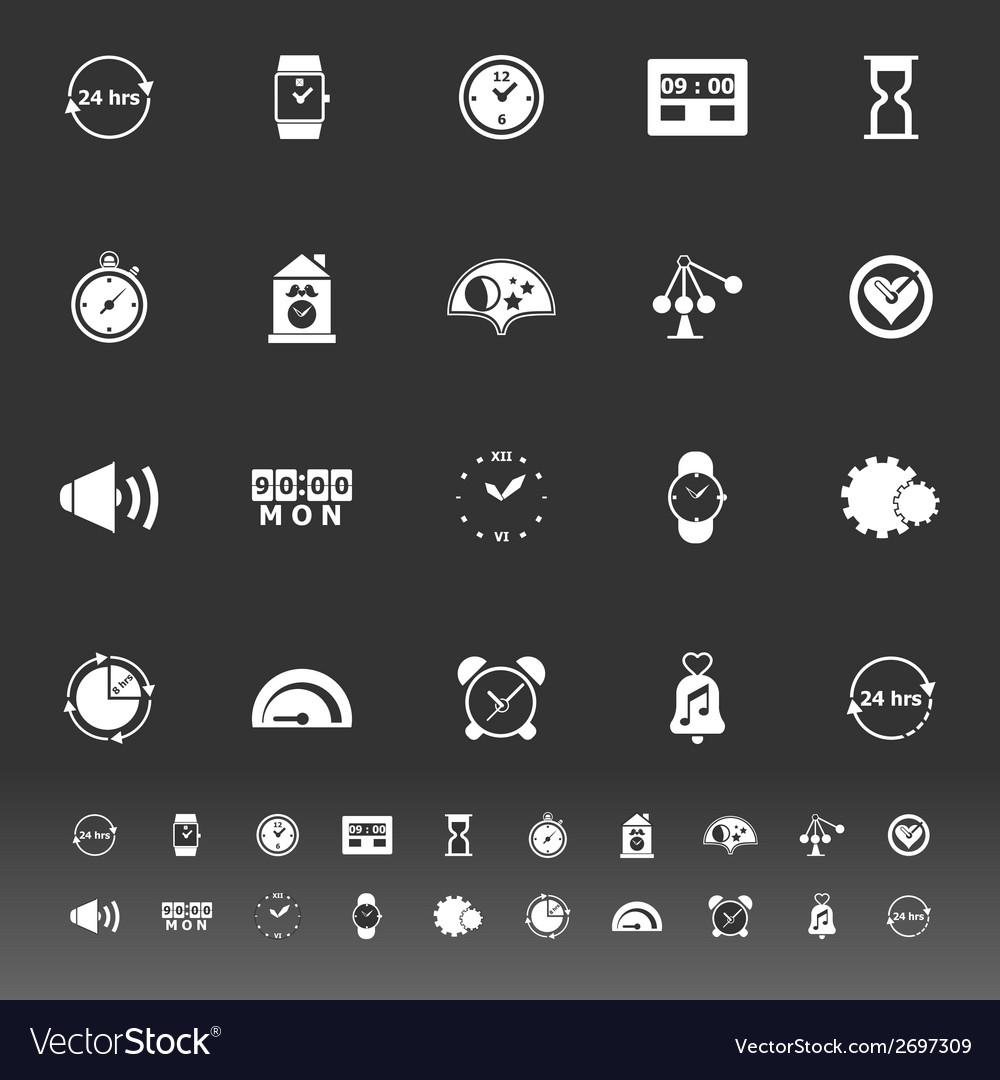 Time related icons on gray background vector