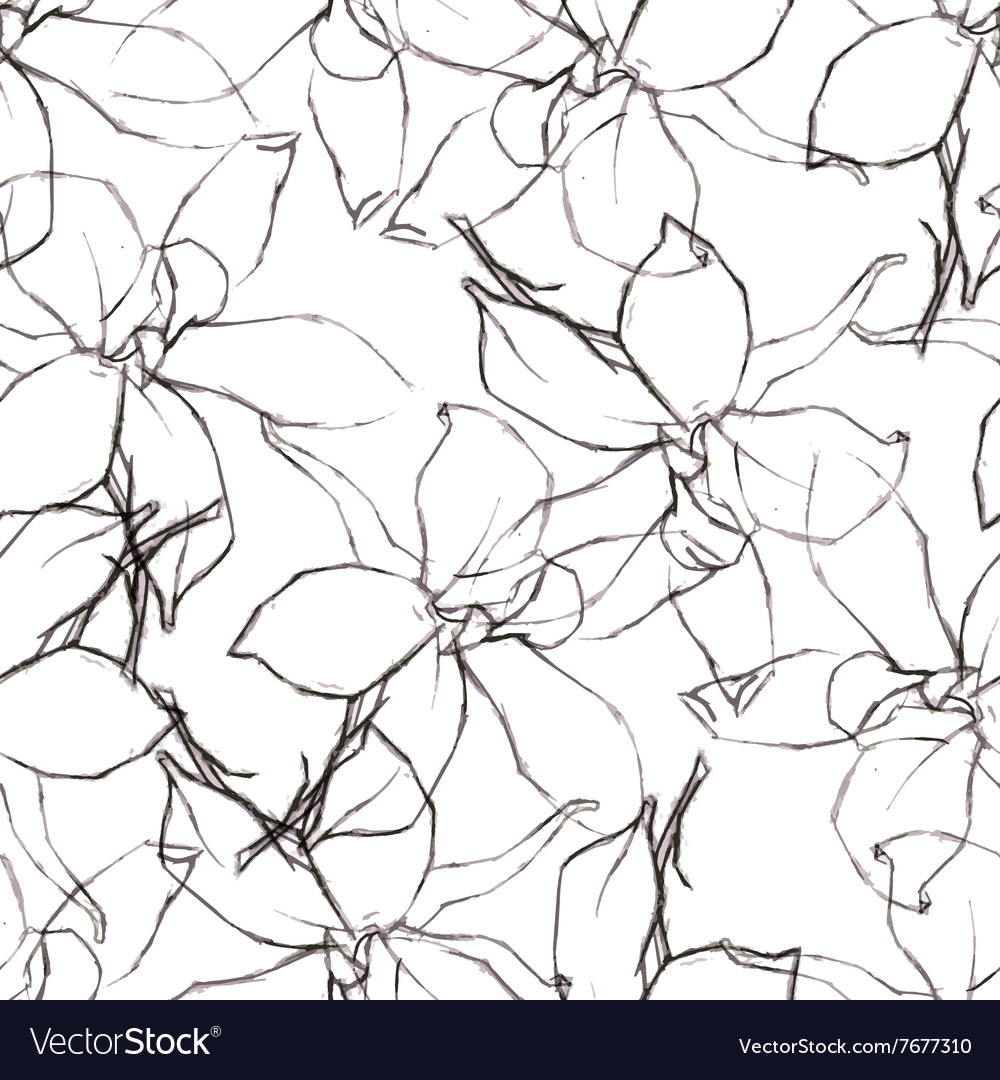 Seamless pattern with pencil flowers sketch vector