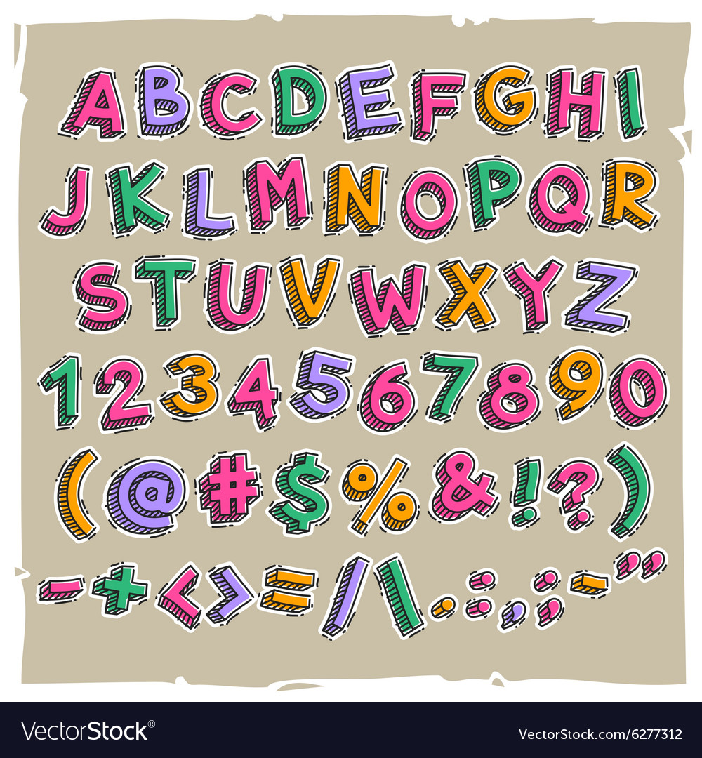 Funny cartoon letters and numbers vector