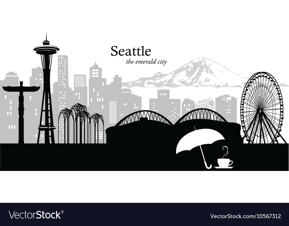 Seattle washington skyline vector
