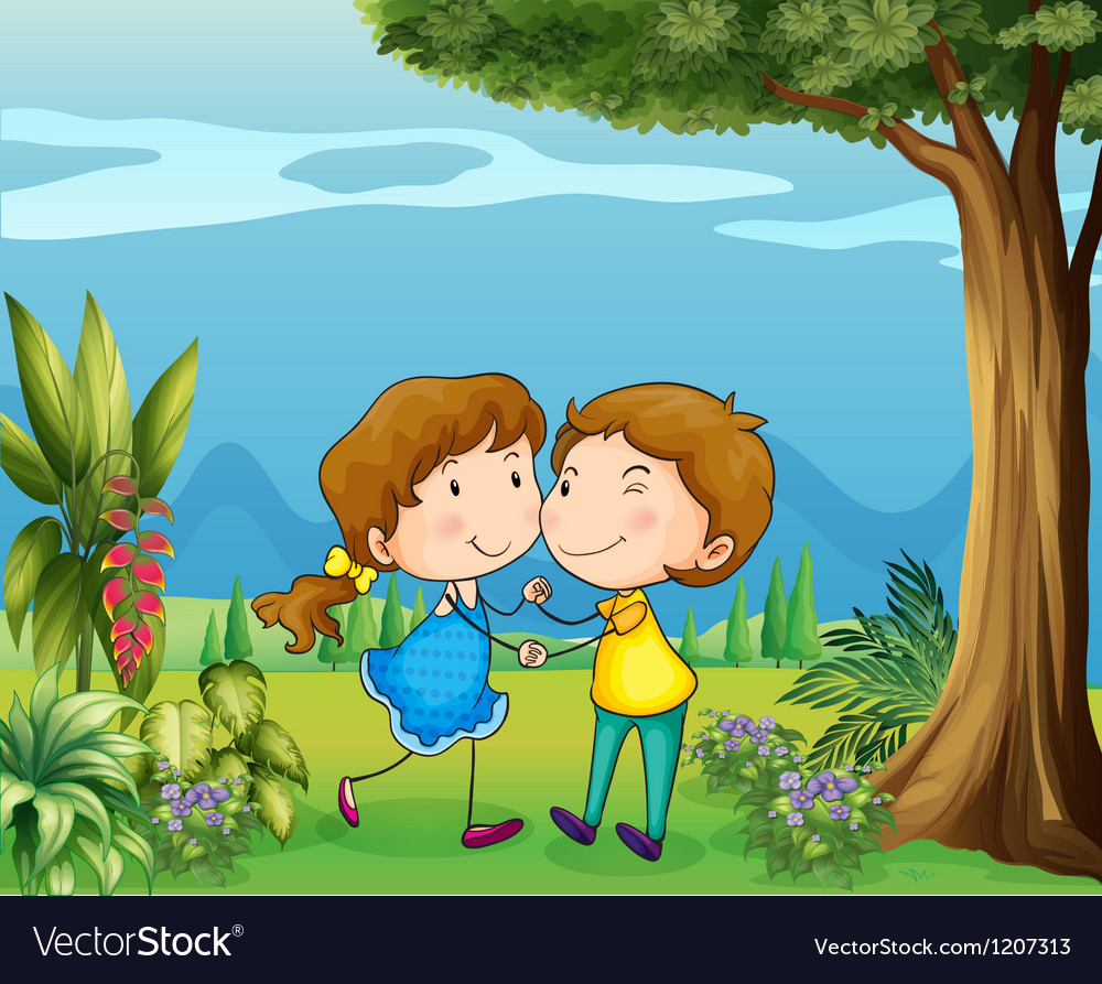 A girl and a boy dancing at the park vector