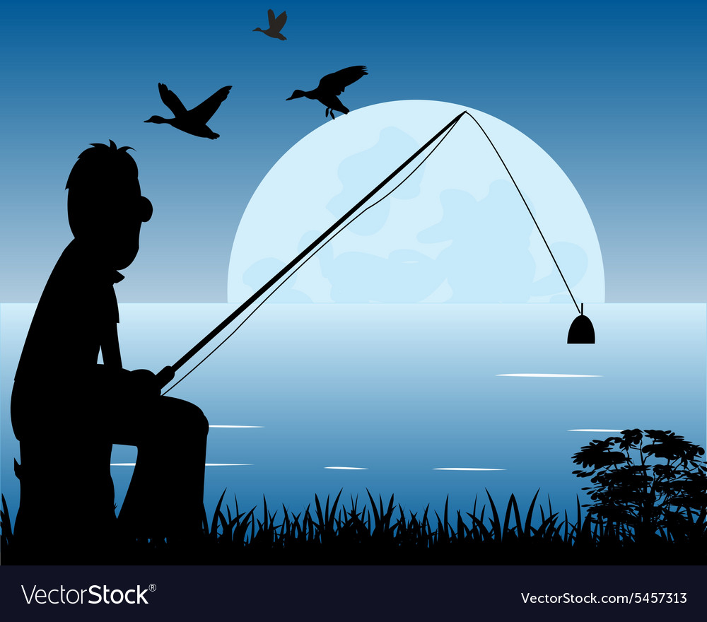 Night fishing vector