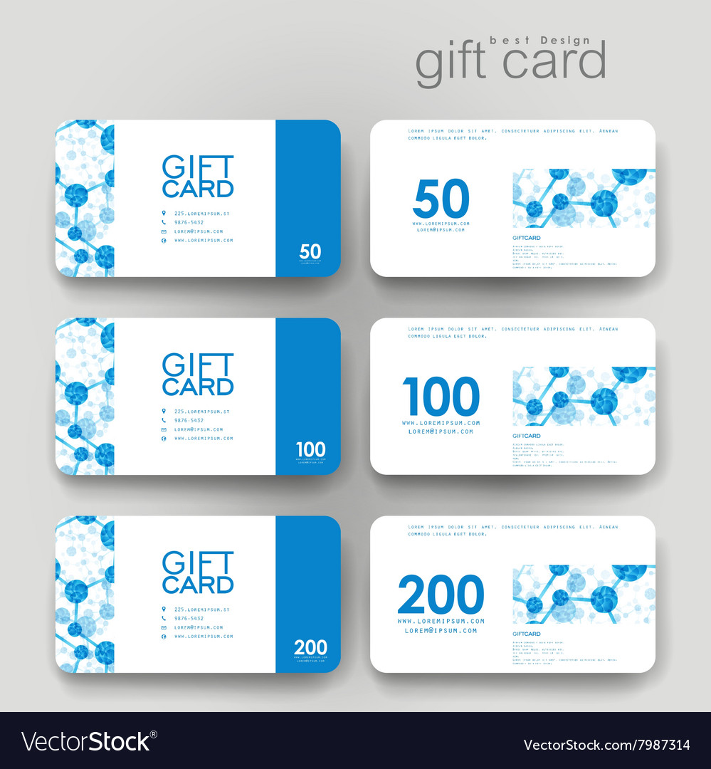 Gift coupon discount card template with dna vector