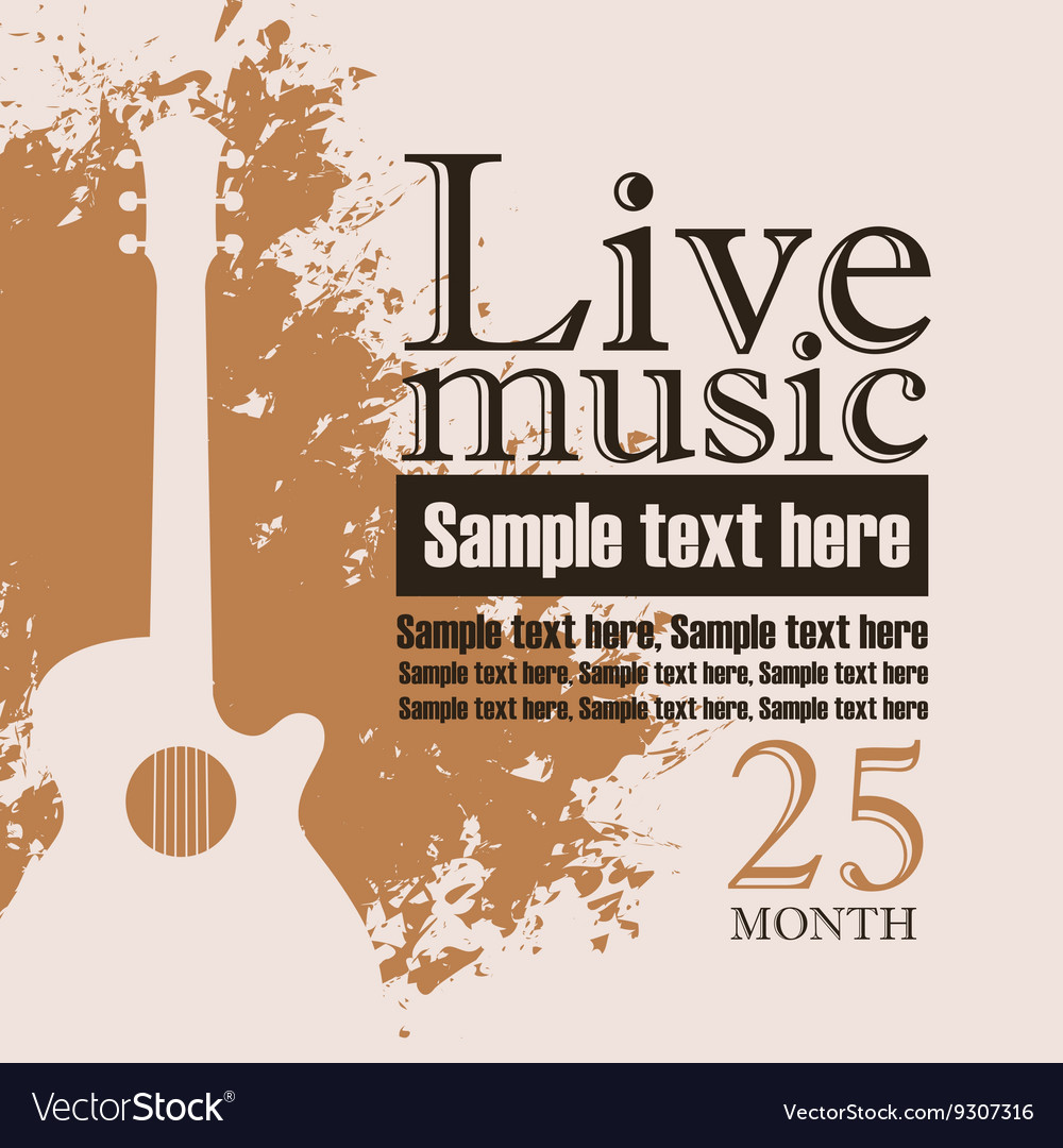 Acoustic guitar on grungy color background vector