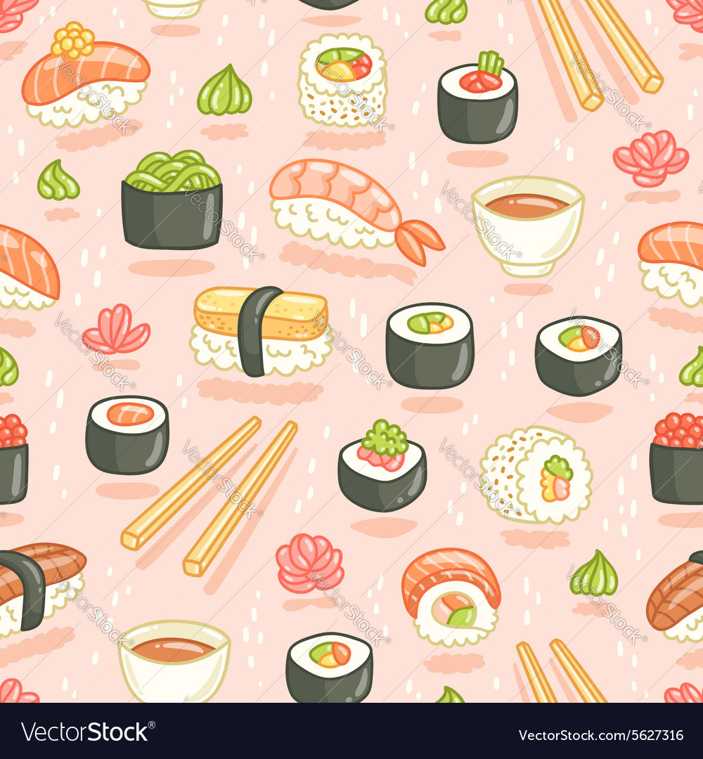 Sushi and rolls seamless pattern on pink vector