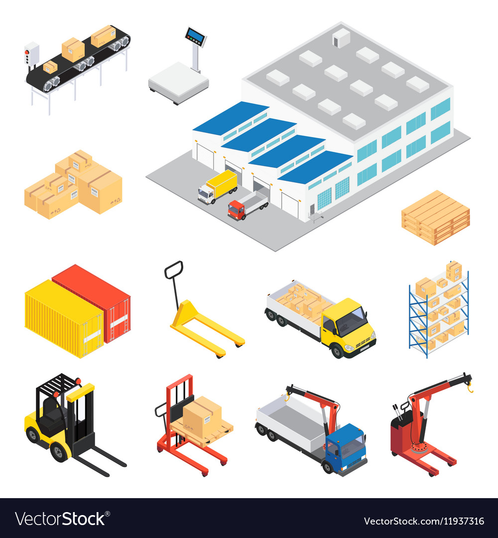 Warehouse isometric icon set vector