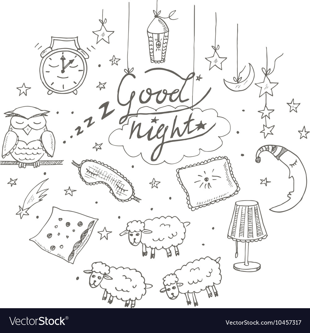 Doodle set of images about good night vector