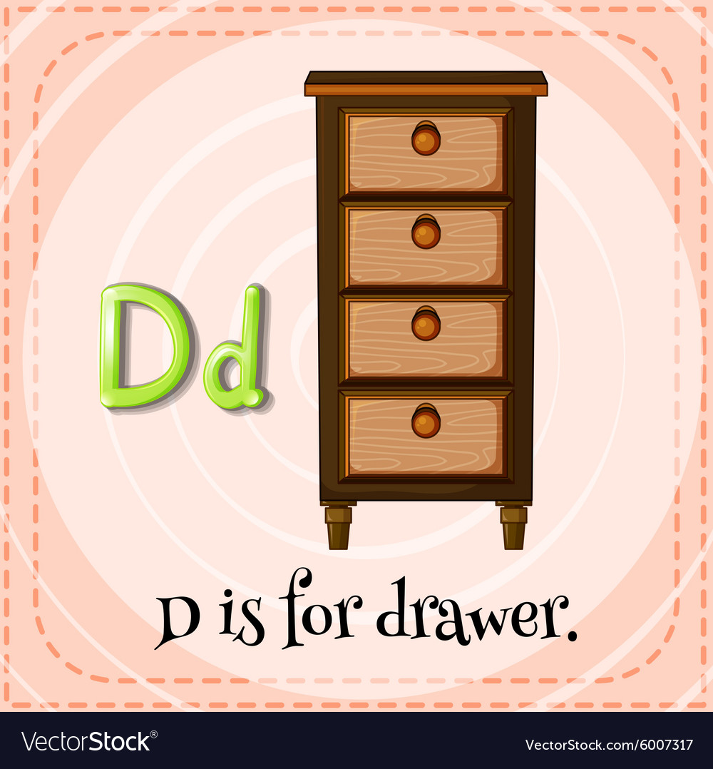Flashcard letter d is for drawer vector