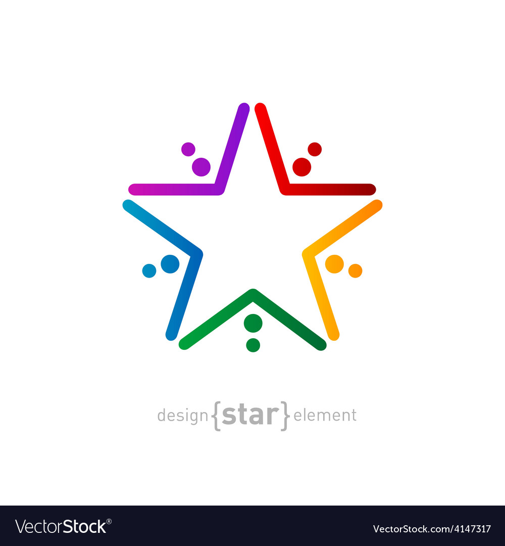 Rainbow star abstract design element vector