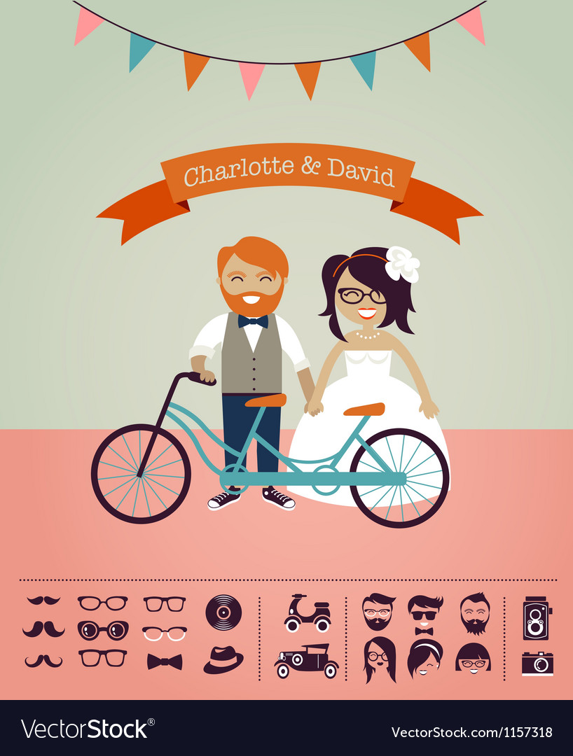 Hipster wedding  design your own invitation card vector