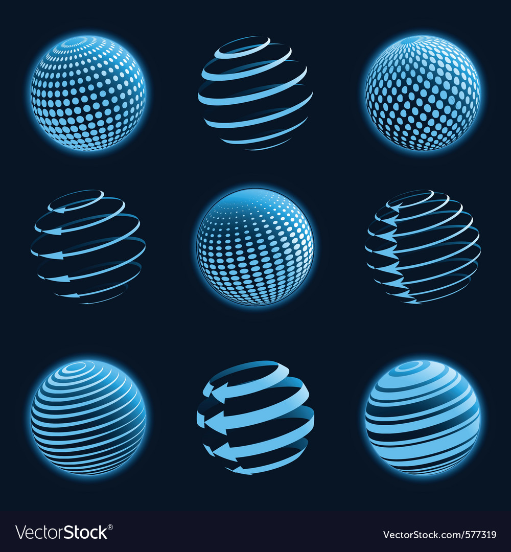 Blue planet icons vector