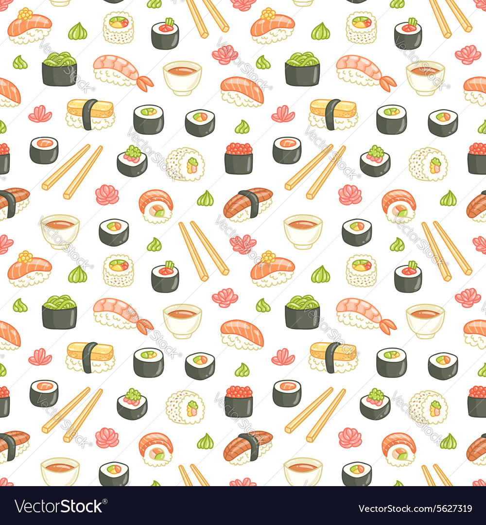 Sushi and rolls seamless pattern on white vector