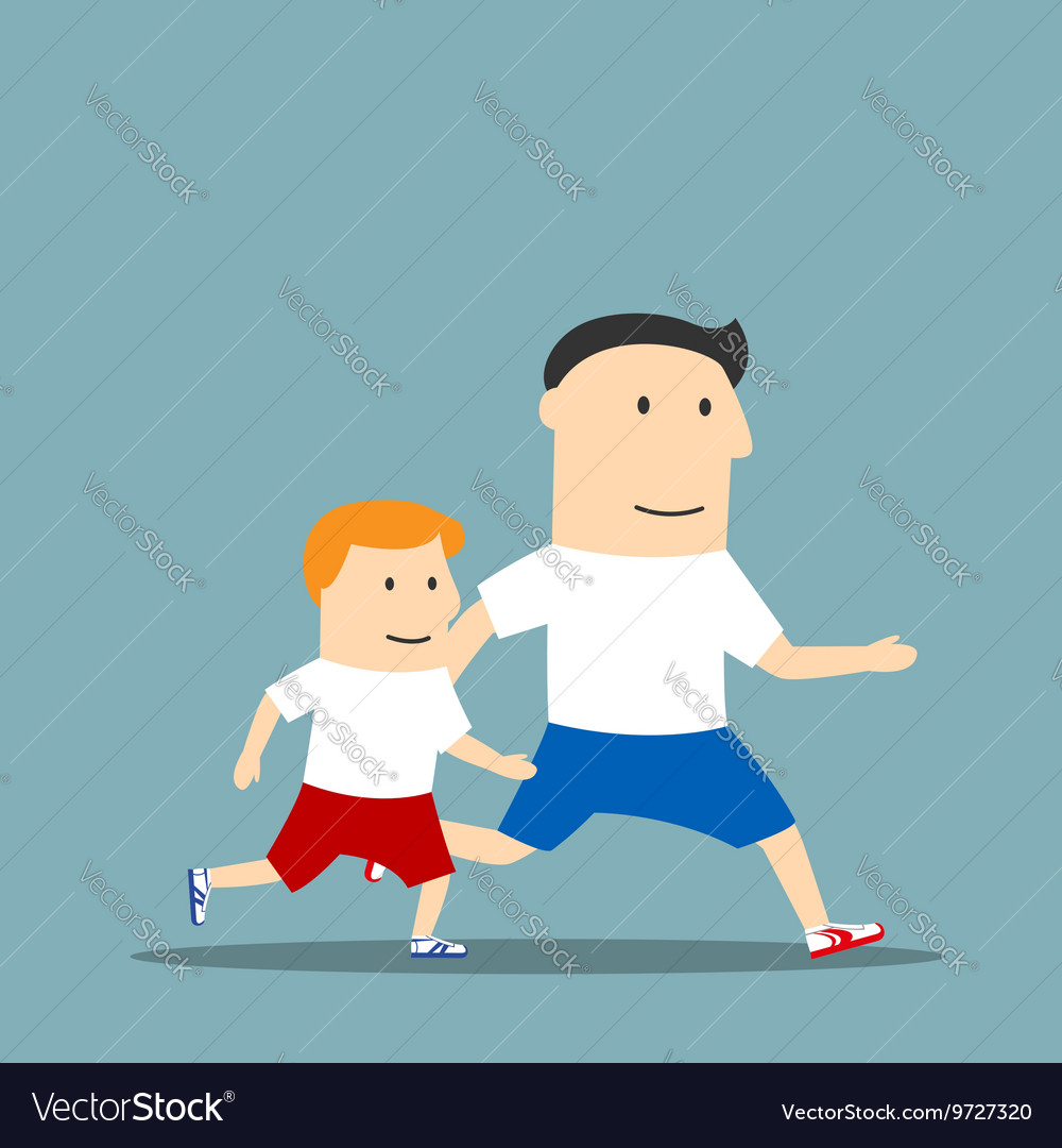 Cartoon father and son are jogging together vector