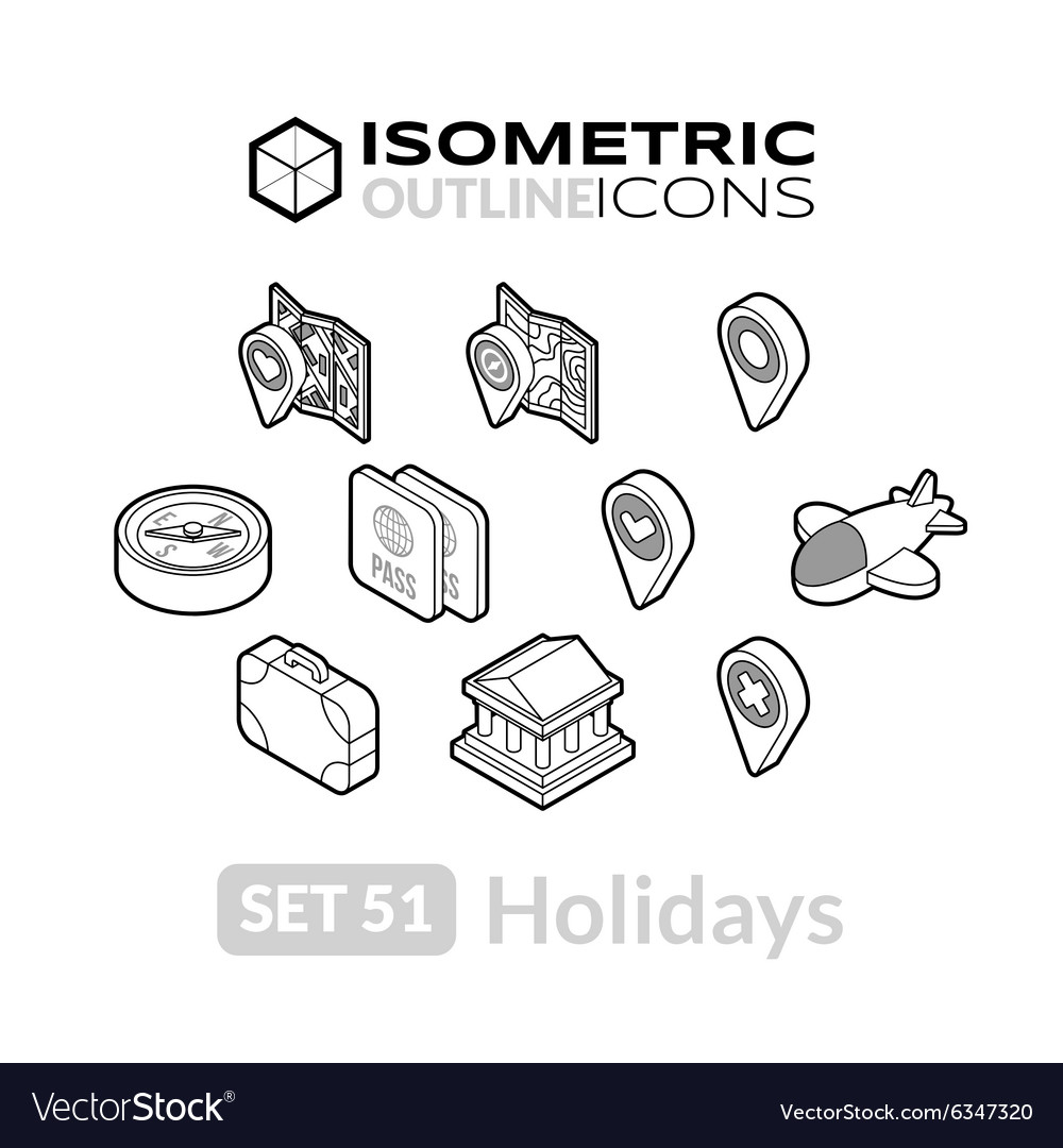 Isometric outline icons set 51 vector
