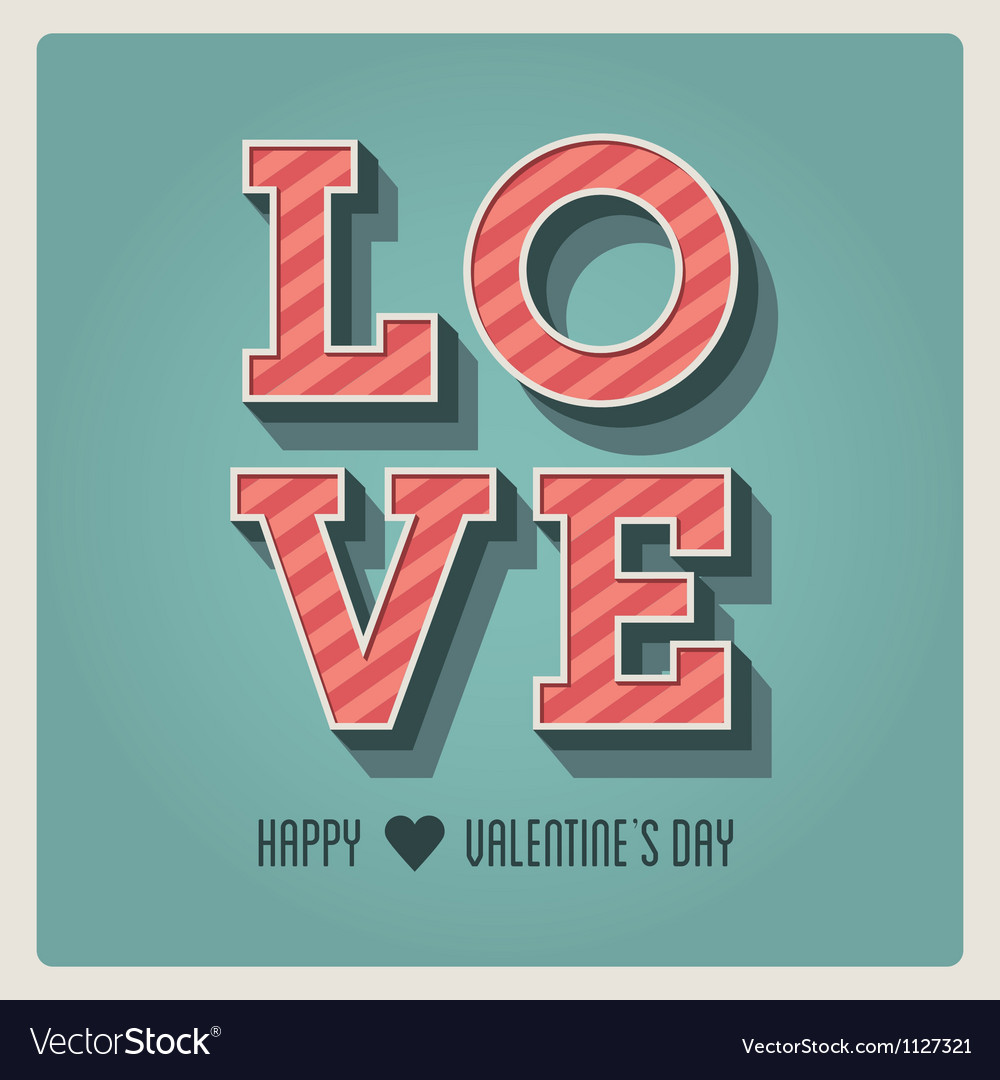Happy valentines day card i love you font type vector