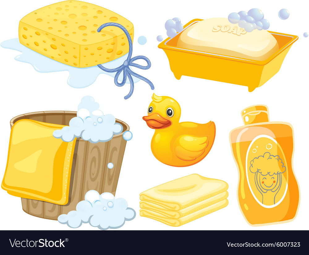 Bathroom set in yellow color vector
