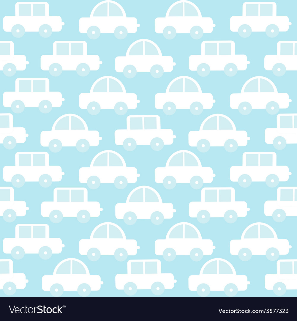 Blue baby boy seamless background with cartoon vector