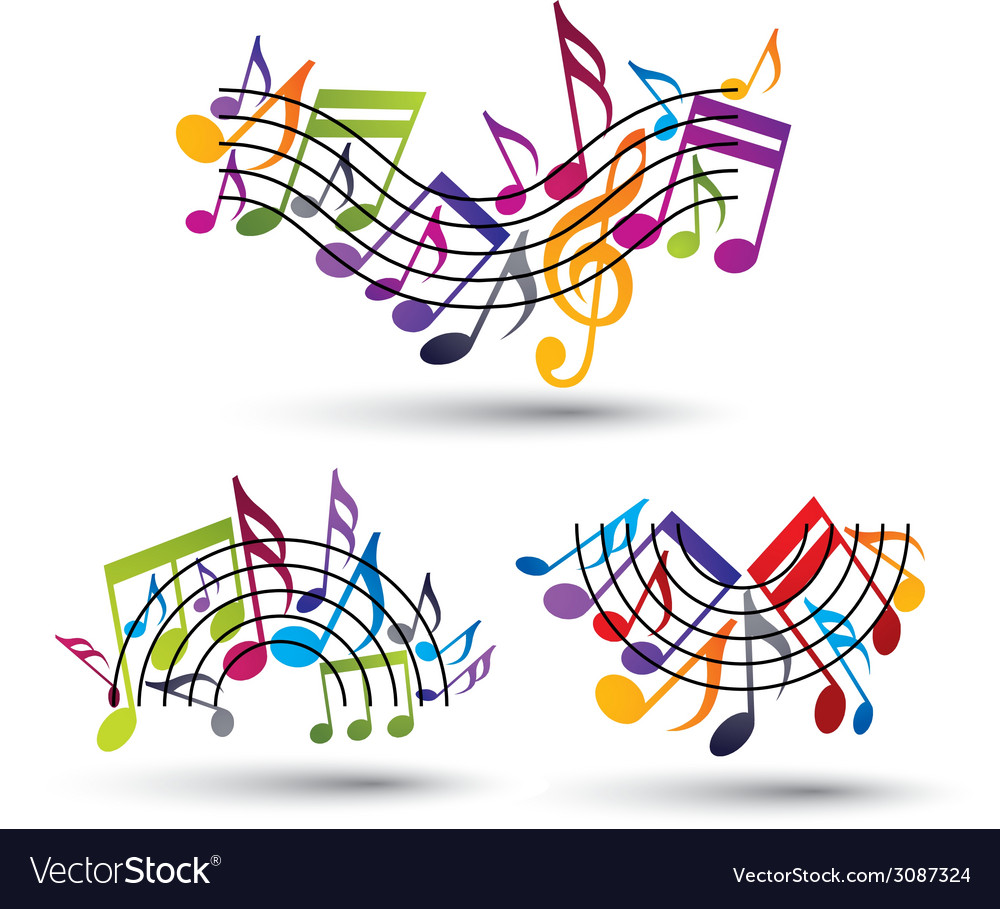Musical notes staff set vector