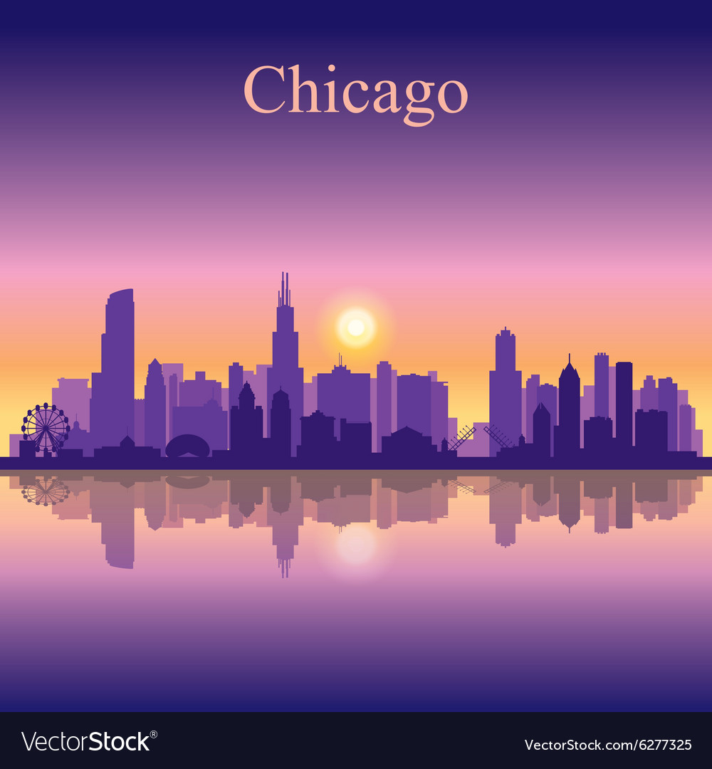 Chicago city skyline silhouette background vector