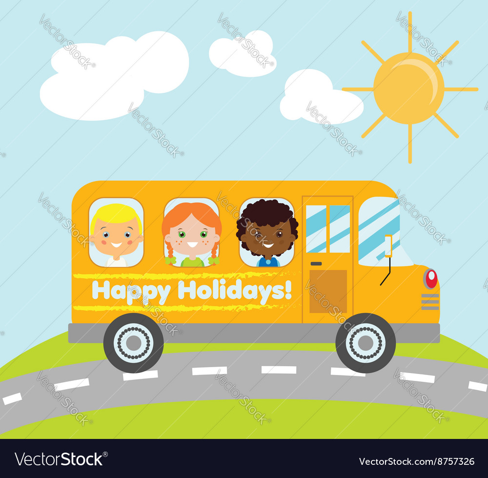 Happy holidays school bus vector