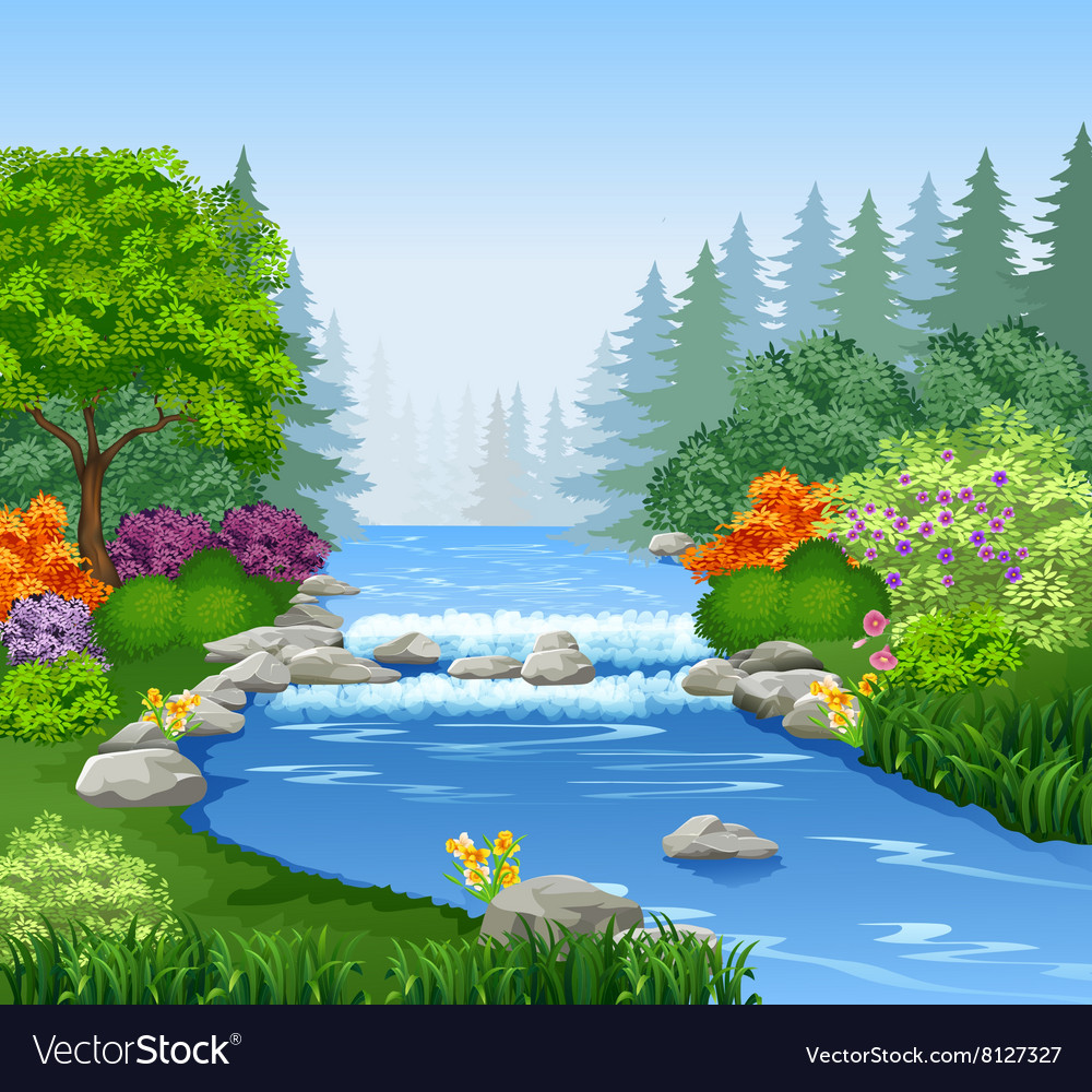 Beautiful mountain river in forest vector
