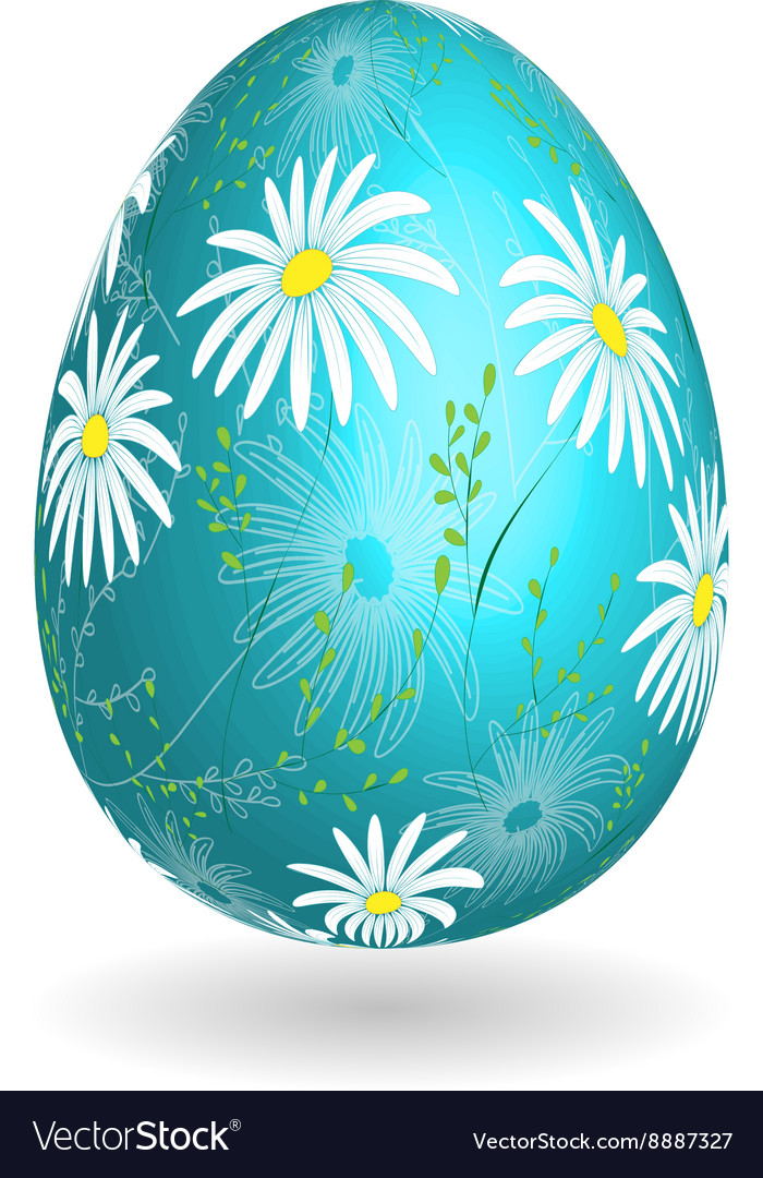 Colorful easter blue egg with ornate doodle floral vector