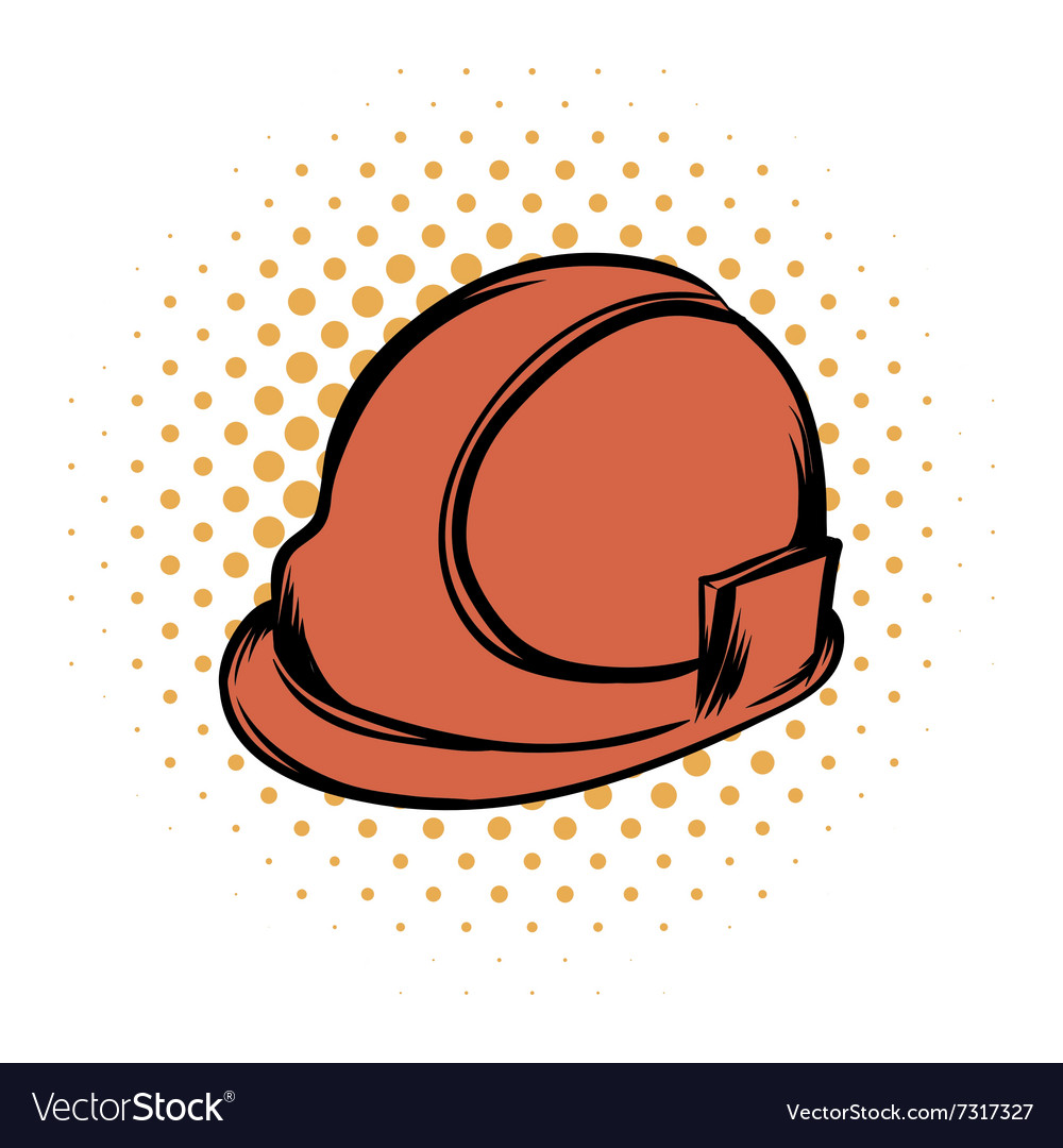 Orange safety helmet comics icon vector