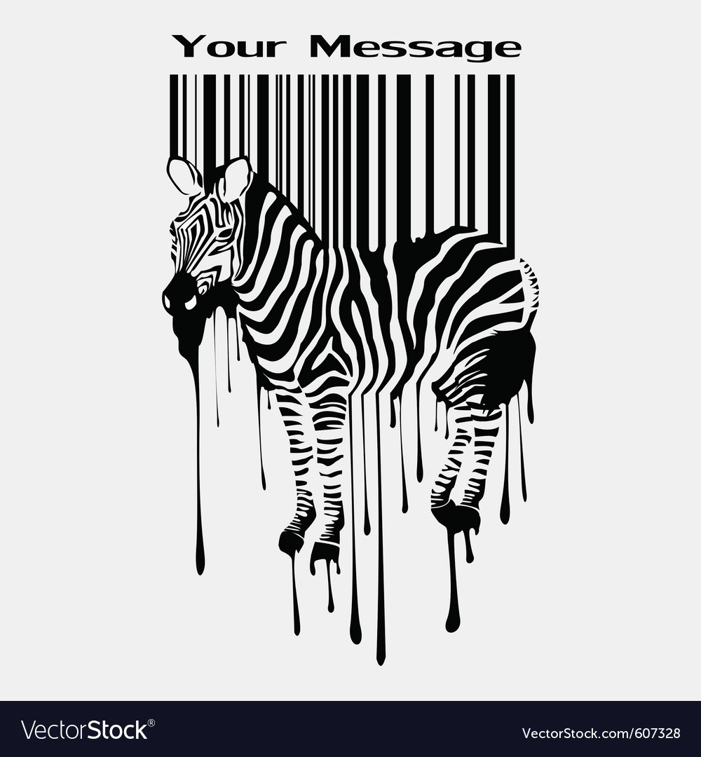 Abstract zebra silhouette with barcode vector