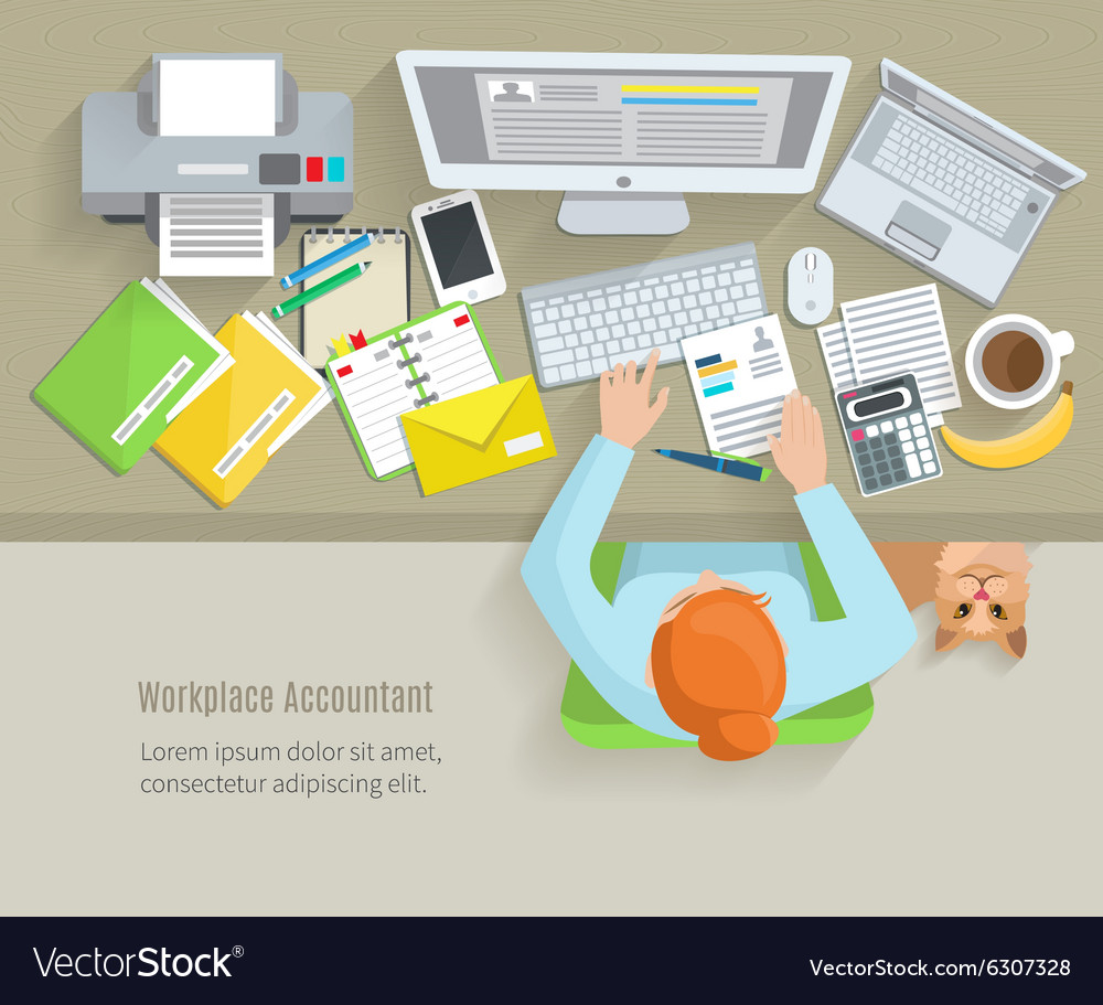 Accounter workplace flat vector